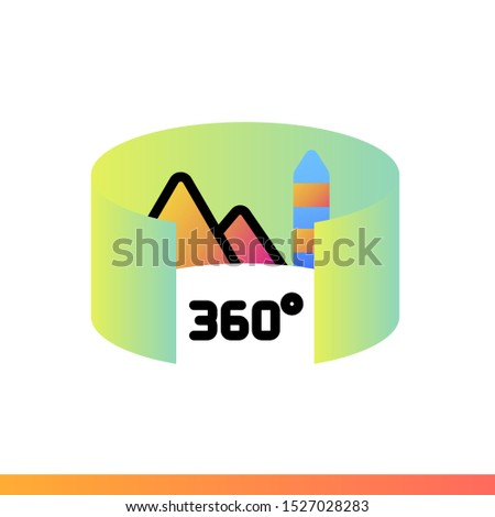 Gradient icon Panoramic photo. Virtual and augmented reality gadgets. Suitable for presentation, mobile apps, website, interfaces and print