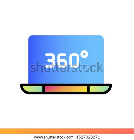 Gradient icon 360 video. Virtual and augmented reality gadgets. Suitable for presentation, mobile apps, website, interfaces and print