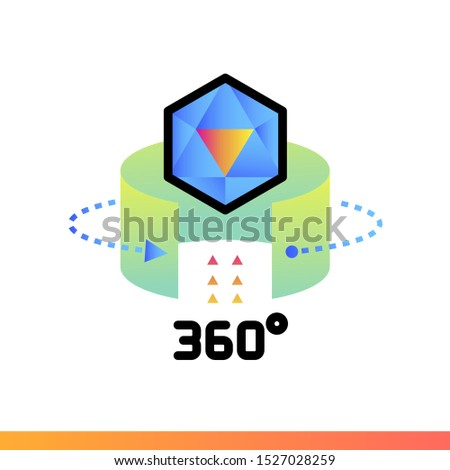 Gradient icon 360 view object. Virtual and augmented reality gadgets. Suitable for presentation, mobile apps, website, interfaces and print