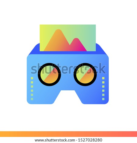 Gradient icon VR cardboard. Virtual and augmented reality gadgets. Suitable for presentation, mobile apps, website, interfaces and print