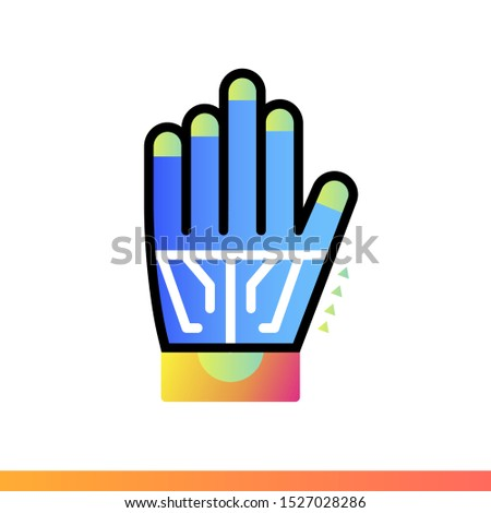 Gradient icon Wired glove. Virtual and augmented reality gadgets. Suitable for presentation, mobile apps, website, interfaces and print