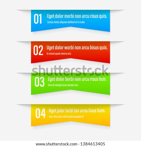 Gradient Infographics banners. A vivid illustration of the layout of the labels banner. Colored button labels with a set of steps. A template for the web design. All elements are isolated.EPS 10.