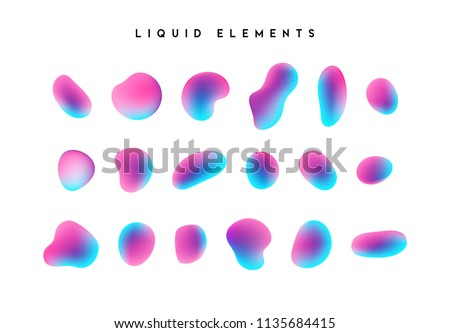 Gradient iridescent shapes. Set isolated liquid elements of holographic chameleon design palette of shimmering colors. Modern abstract pattern, bright colorful paint splash fluid.