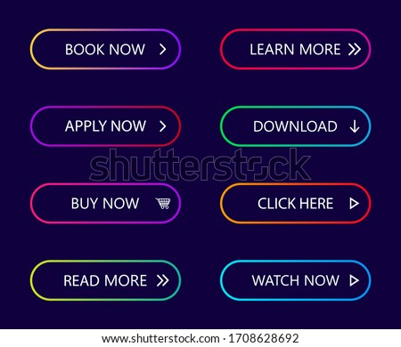 Gradient neon buttons. Button with arrow for call action, web buy, more, next, learn, download. Modern menu collection for navigation in app, site page, interface. Color 3d rounded banner. Vector.