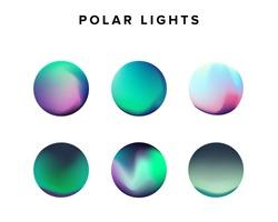 Gradient of polar lights, set of holographic circles.