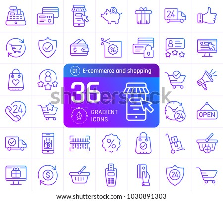 Gradient outline icons of online shopping and e-commerce. Pictogram collection suitable for banner, mobile application, website. Editable stroke