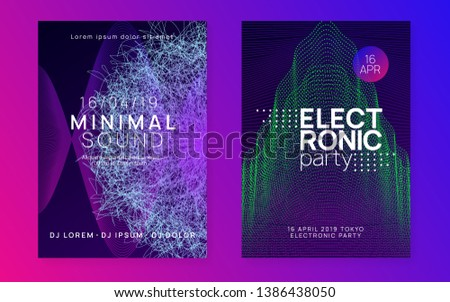 Gradient party flyer. Energy discotheque banner set. Dynamic fluid shape and line. Gradient party flyer. Electro dance music. Electronic trance sound. Club dj poster. Techno event.