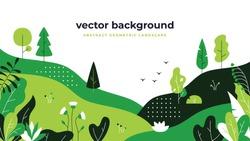 Gradient plant landscape. Minimal flat leaves design, color gradation cartoon background, forest plants. Vector floral nature poster