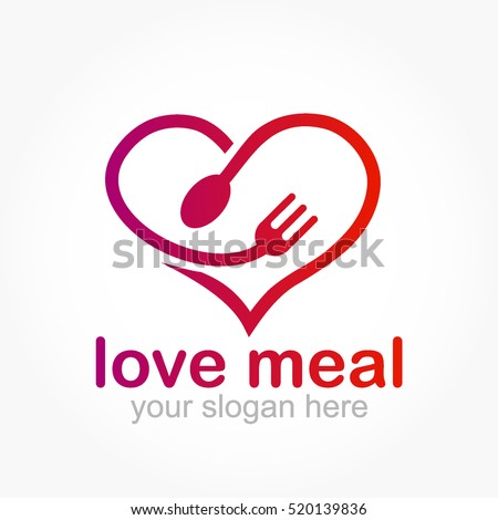 gradient purple pink love shape with a spoon head and a fork head for love meal