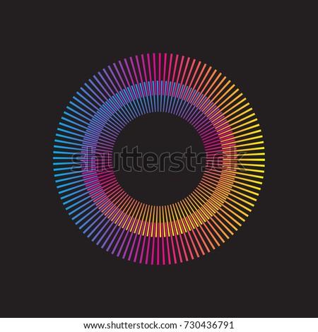Stock Photo Gradient rainbow circle vector sunburst. Color sunbeams. Frame with rays.