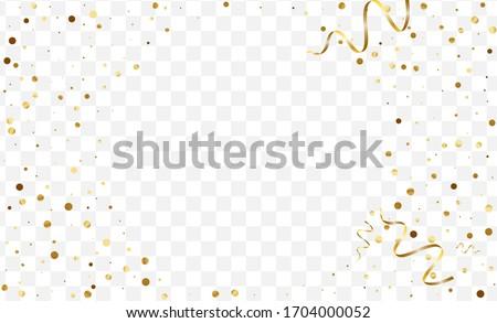 Gradient Random Glitter Frame. Art Confetti Card. Yellow Circle Party Pattern. Festive Dot Template. Gold Splash Design.