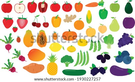 Gradient Vector Set of Fruits and Vegetables
