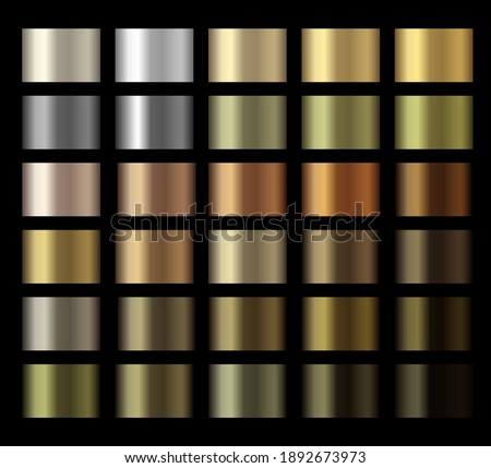 Gradients vector metallic gold, silver, bronze, copper colorful palette collection. Vector glossy swatches with gold and bronze gradient texture backgrounds. Shiny textures. Vector design