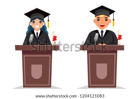 Graduate boy and girl tribune solemn speech character flat design vector illustration