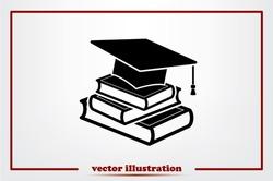 graduate cap and books vector icon eps10