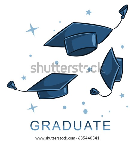 Graduate cap in the air. Vector cartoon illustration of hats in different positions isolated on white background.