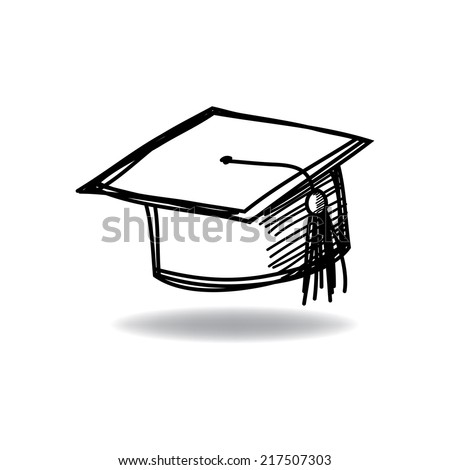 Graduate cap with ink hand drawn
