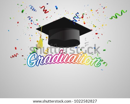 Graduate caps and Colorful confetti on a white background.