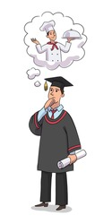 Graduate chooses profession. Man in graduation form holds scroll diploma, chooses future career. Guy wants to be chef cooking in restaurant. Character design isolated person. Vector illustration