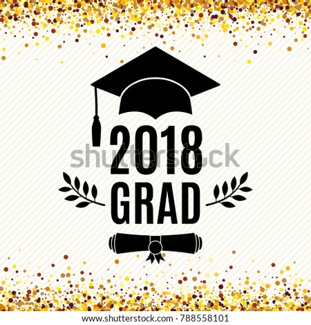 Graduate 2018 class of greeting card with hat, scroll and laurel for invitation, banner, poster, postcard. Vector illustration. All isolated and layered