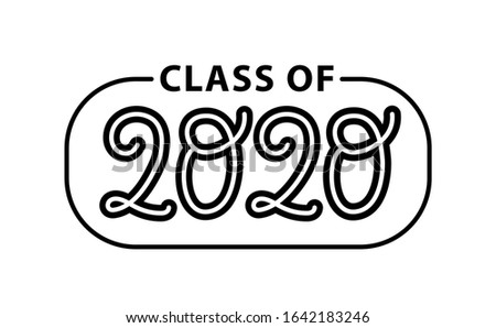 Graduate 2020. Class of 2020. Lettering Graduation logo stamp. Vector illustration. Template for graduation design, party, high school or college graduate, yearbook.