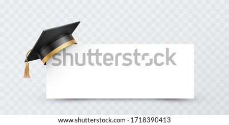 Graduate college, high school or university cap isolated on transparent background. Vector 3d degree ceremony hat with white paper banner. Black educational student cap and blank frame