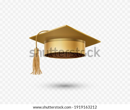 Graduate college, high school or university cap isolated on transparent background. Vector gold 3d degree ceremony hat. Golden educational student symbol