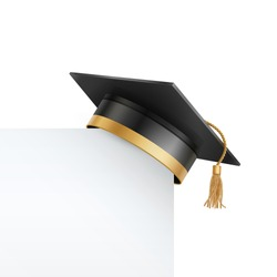 Graduate college, high school or university cap isolated on white background. Vector 3d degree ceremony hat with white paper banner. Black educational student cap and blank frame