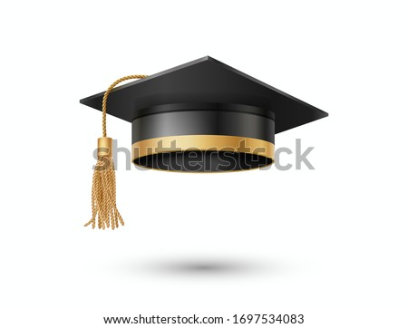 Graduate college, high school or university cap isolated on white background. Vector 3d degree ceremony hat with golden tassel. Black educational student cap icon.