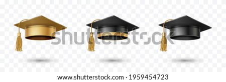 Graduate college, high school or university cap set isolated on transparent background. Vector gold and black 3d degree ceremony hats. Golden educational student symbols Сток-фото ©