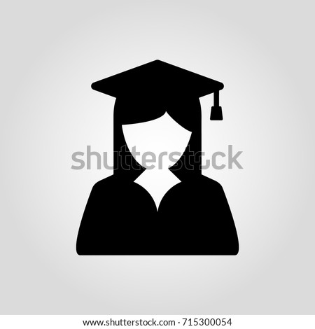 Graduate girl in square cap or hat with tassel vector icon. Female in mortar hat and graduation academic gown