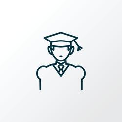 Graduate icon line symbol. Premium quality isolated academic element in trendy style.