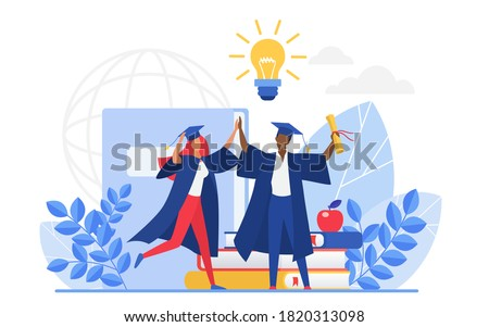 Graduate people celebrate vector illustration. Cartoon flat tiny group of happy graduating students characters celebrating graduation, holding school or college education diploma isolated on white