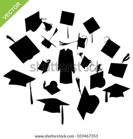 Graduate silhouettes vector - stock vector