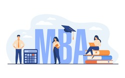 Graduate students studying business administration and management, getting master degree. Flat vector illustration for education, knowledge, MBA school concept