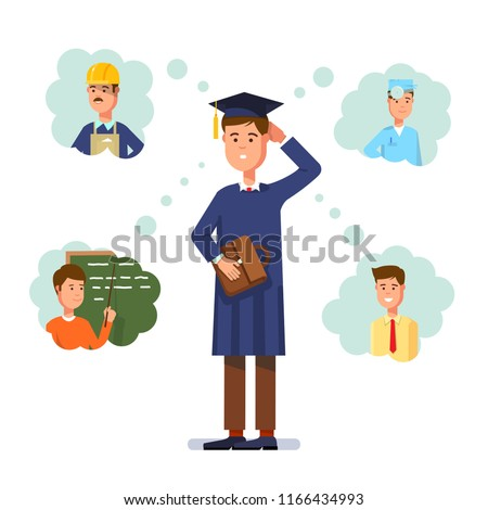 Graduate wearing graduation cap and thinking about future profession. Young man choosing profession between building engineer, doctor, teacher and manager. Career choice. Flat vector illustration