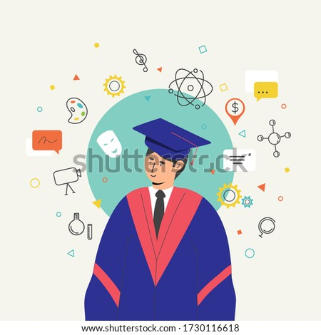 Graduated collage student choosing a specific academic major in the university Academic education concept College student choosing what to study Cartoon character isolated vector illustration  Stock photo ©