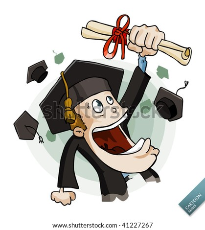 Graduated young student. Detailed vector illustration in isolated in white.
