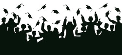 Graduates crowd silhouette. College graduates throwing traditional caps, dancing and jumping vector illustration. Celebrating graduates silhouette.