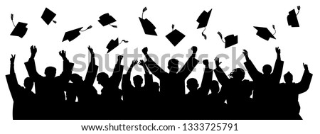 Graduates throwing cap. Silhouette high achievements. School student hat vector Foto stock ©