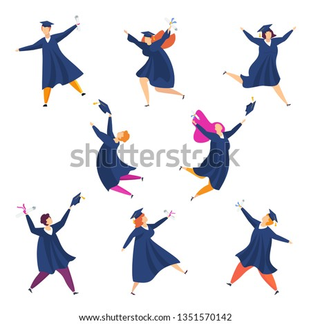 Graduating students. Group of fun people. Boys and girls are happy dancing, laughing and jumping. Throw up mortarboards and diplomas. Celebrating university graduation 2020. Flat vector concept.