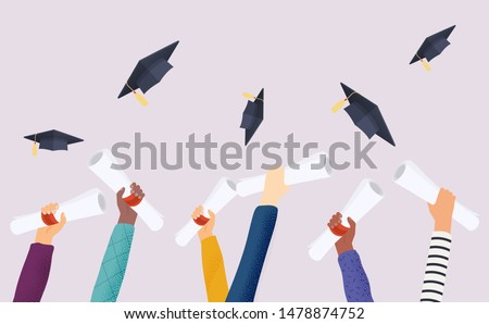 Graduating students of pupil hands in gown throwing graduation caps. Hands holding diploma graduation. Flat design modern vector illustration concept.