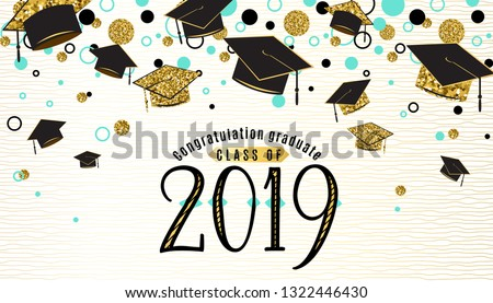 Graduation background class of 2019 with graduate cap, black and gold color, glitter dots on a white golden line striped backdrop. Hat thrown up. Vector illustration.