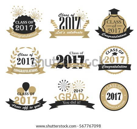 Graduation 2017 badges, signs and symbols with graduation hat and text in retro style, vector illustration. Congratulation to graduates of 2017 year.