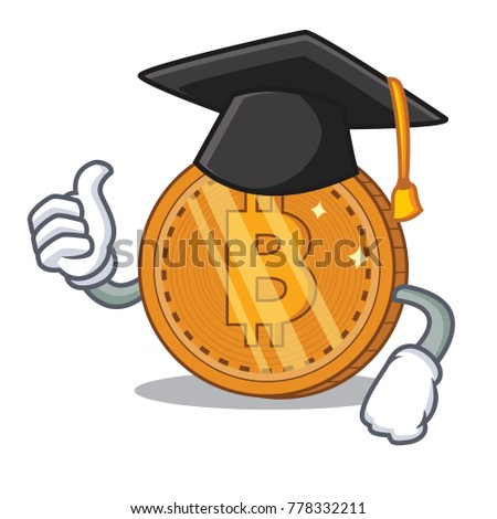 Graduation bitcoin coin character cartoon