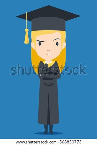 graduation blonde girl is