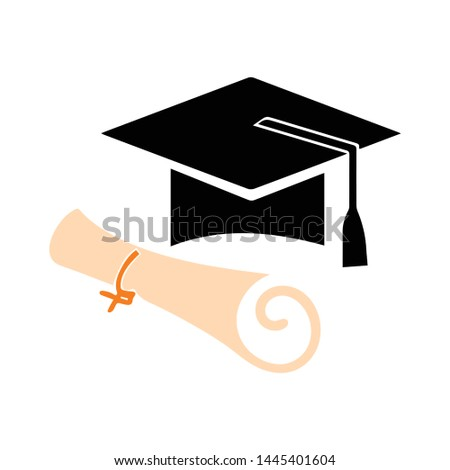 graduation cap and certificate  icon. Logo element illustration. graduation cap and certificate  design. colored collection. graduation cap and certificate  concept. Can be used in web and mobile