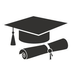 graduation cap and diploma black web icon. vector illustration