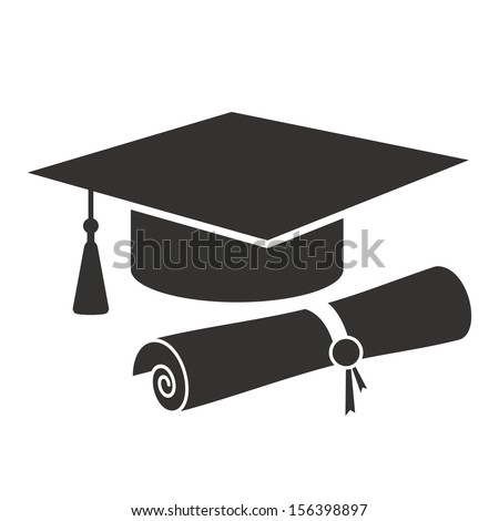 graduation cap and diploma black web icon. vector illustration