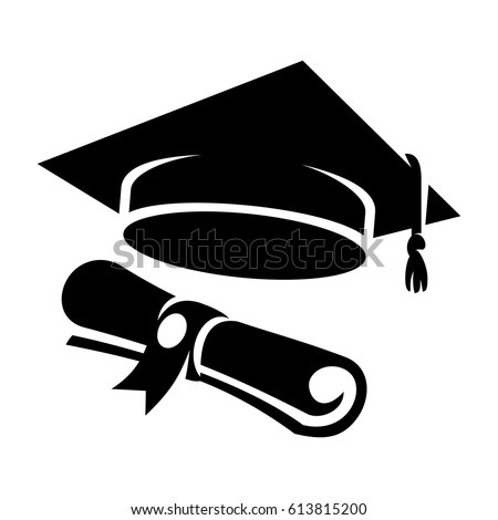 Graduation cap and diploma web icon. Black student hat vector illustration
